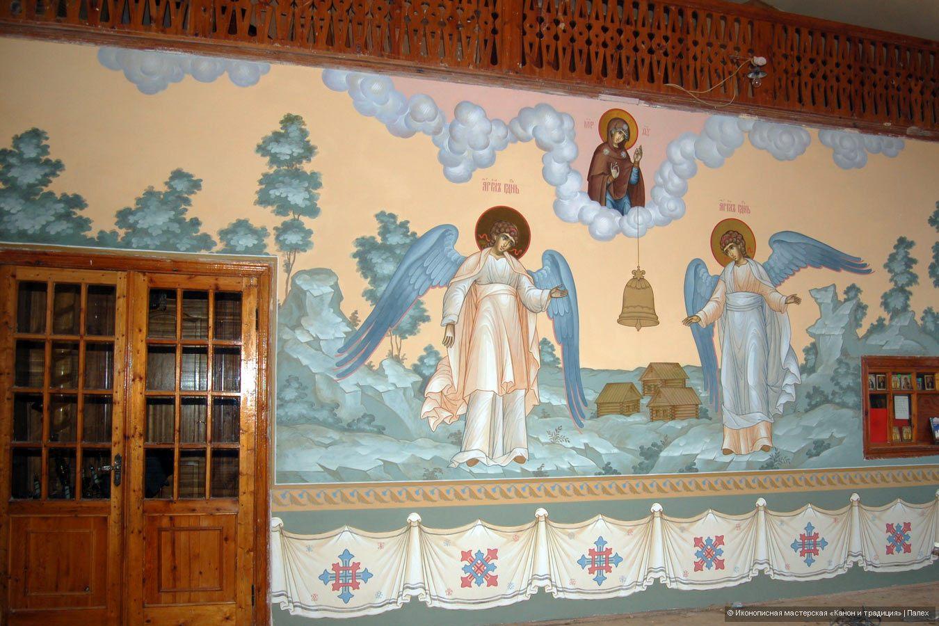 Роспись стены в храме